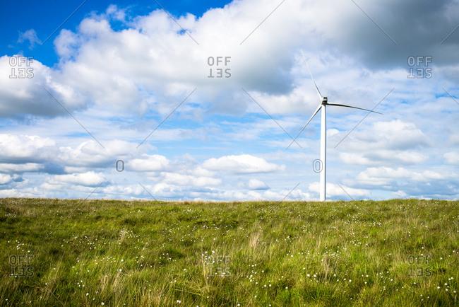 A wind turbine in a prairie setting