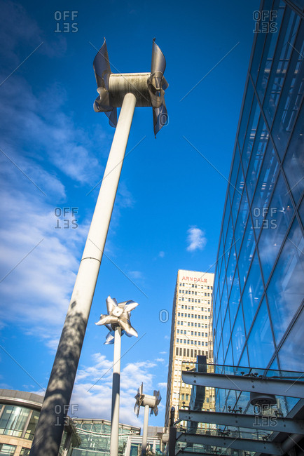 Yorkshire, England, UK - June 5, 2014: Small wind turbine in city setting
