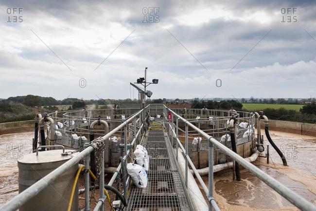 Yorkshire, England, UK - October 29, 2012: Top of industrial reservoir platform