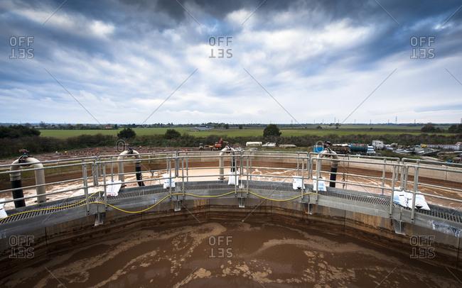 Yorkshire, England, UK - October 29, 2012: Walkway over industrial reservoir platform