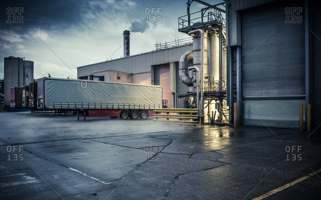 Yorkshire, England, UK - October 29, 2012: Industrial loading area at dusk