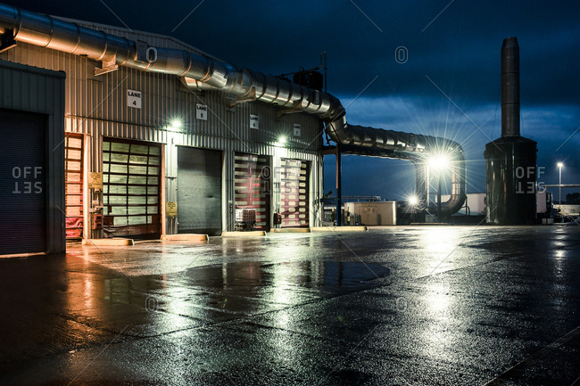 Yorkshire, England, UK - October 29, 2012: An industrial loading area at dusk