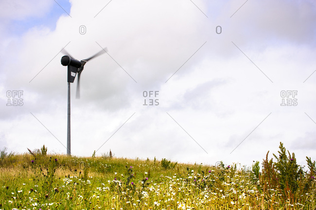Yorkshire, England, UK - July 16, 2010: A turbine in a field