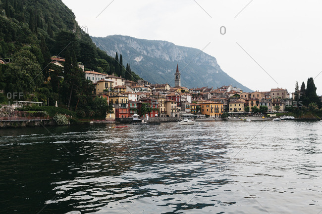 Varenna, Italy - June 22, 2017: Scenic view of town along the shore of Lake Como