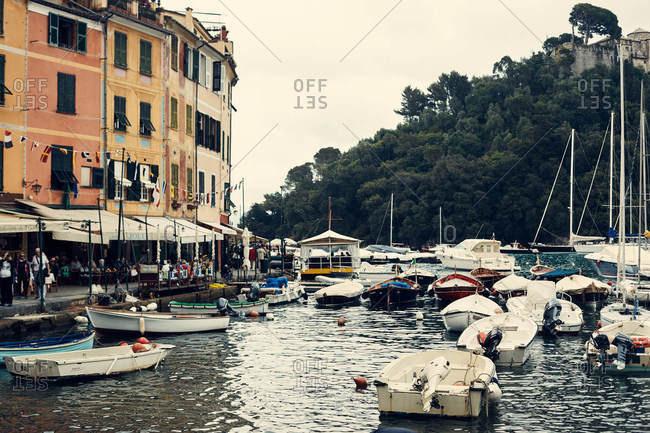 Portofino, Italy - June 3, 2016: Boats in the harbor in Portofino, Italy