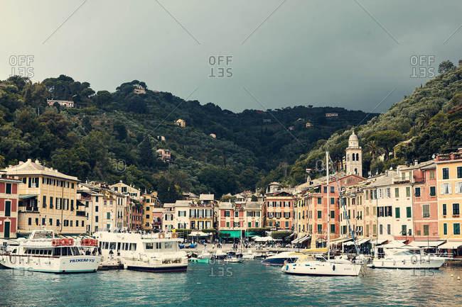 Portofino, Italy - June 3, 2016: Boats and ships in the harbor in Portofino, Italy