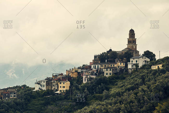 Buildings  on the hillside of Cinque Terre, Italy