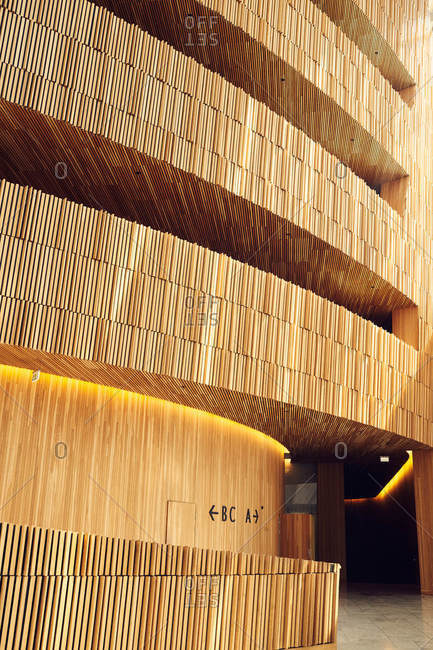 Oslo, Norway - June 14, 2016: Wooden structure inside the Oslo Opera House in Norway