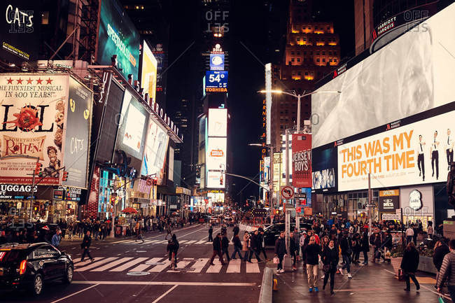 Manhattan, New York City, New York - November 6, 2016: Times Square at night