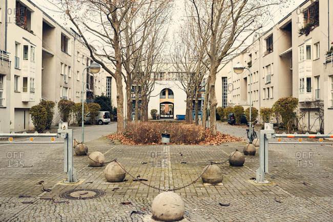 Berlin, Germany - November 21, 2016: Courtyard surrounded by buildings in Berlin