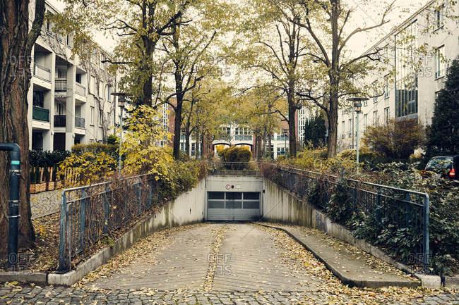 Berlin, Germany - November 21, 2016: Driveway leading down to garage in Berlin