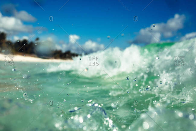 Waves splashing on the coast of Tulum, Quintana Roo, Mexico