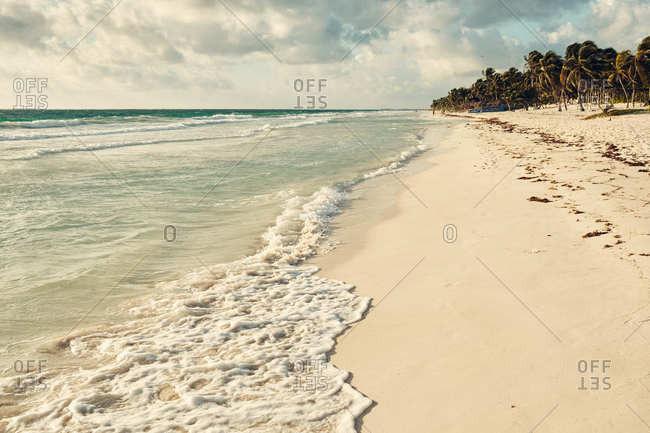 Waves on the coast of Tulum, Quintana Roo, Mexico