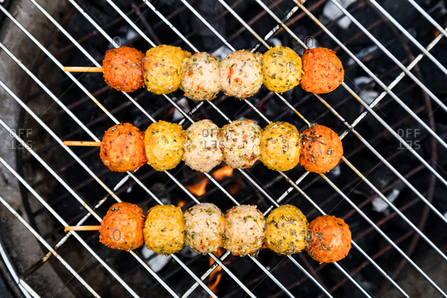 Meatball skewers on the grill