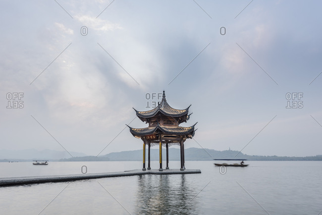 People at the pagoda on the West Lake, the big tourist attraction of  Hangzhou in China