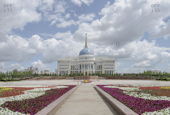 Flowerbeds in front of the Ak Orda, the Presidential Palace of Nursultan Nazarbayev