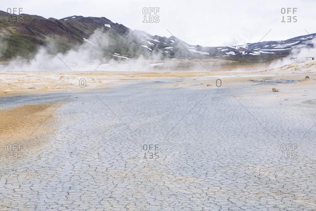 Geothermal steam and mud pool in Iceland