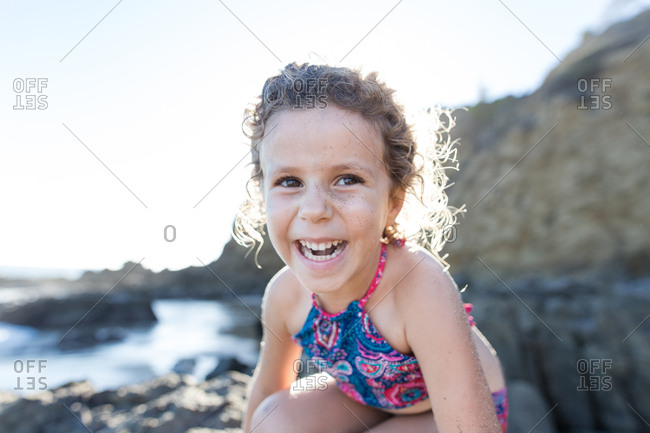 A happy child at the beach