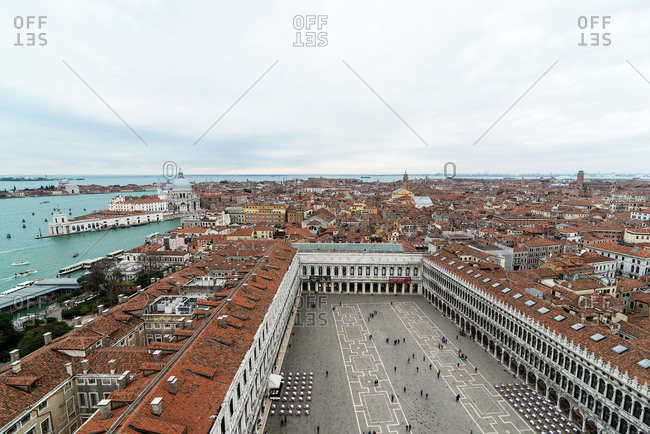 Venice, Italy - February 26, 2016: Aerial views of San Marco square and city