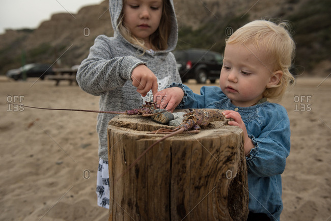Two sisters playing with objects found on beach