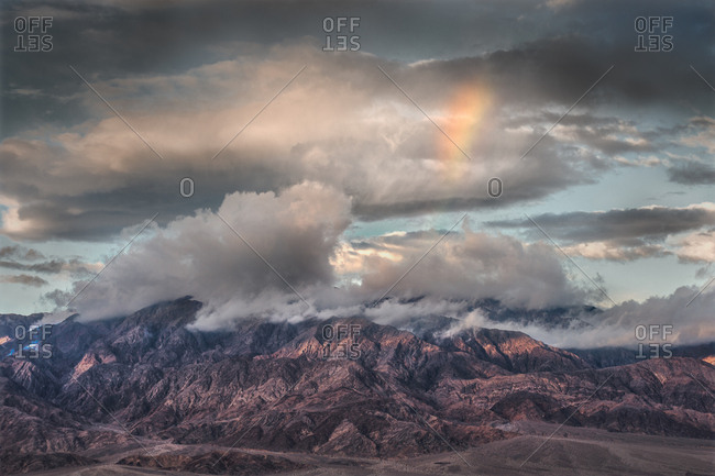 Rainbow over mountains, Death Valley