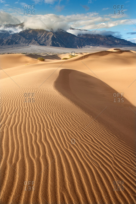 Wavy lined sand dunes in Death Valley
