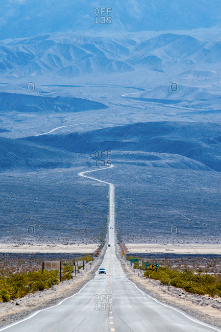 Car through Death Valley highway