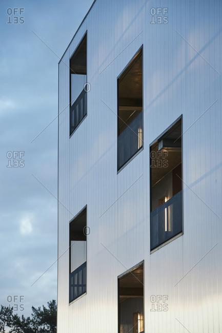 Facade of modern residential building