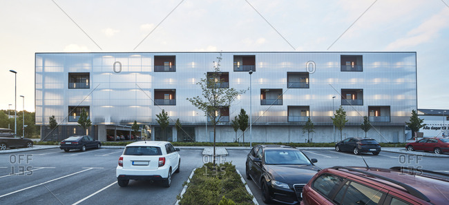 Modern residential building and parking lot