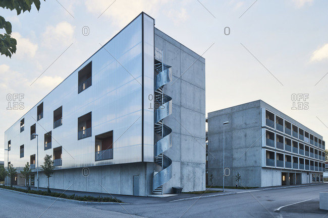 Modern residential building with winding stairwell