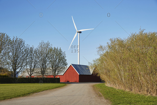 Falun red barn and wind turbine