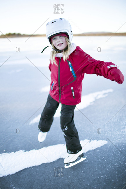 Girl on frozen lake