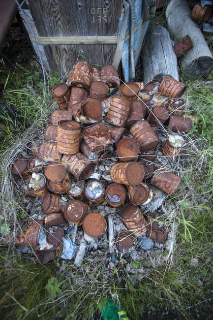 Stack of rusty cans