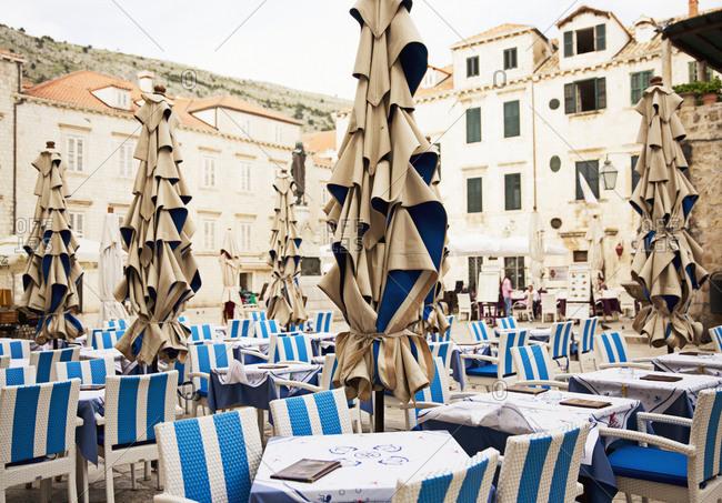Open-air restaurant, Dubrovnik, Croatia
