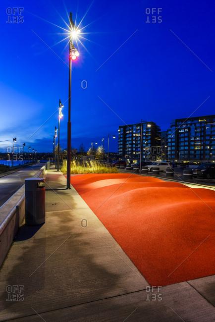 Empty skateboard place at dusk