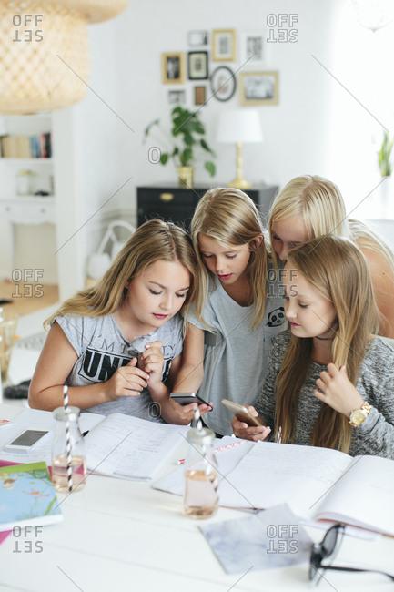 Girls looking at phones