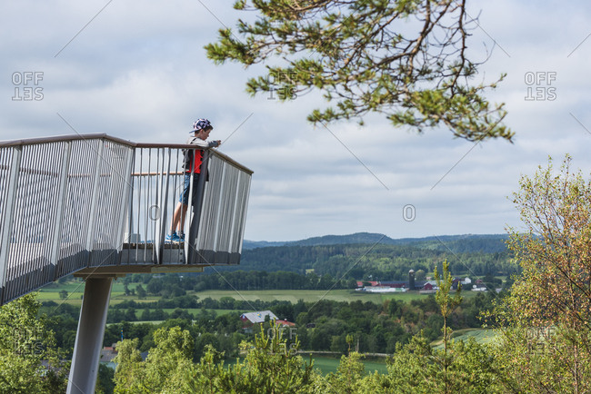 Boy on lookout tower
