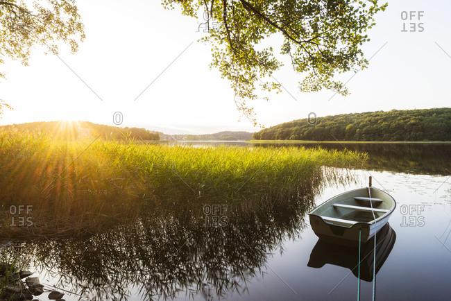 Rowboat on calm lake