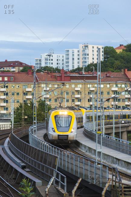 Modern tram in city