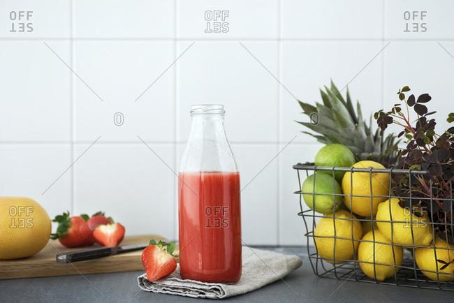 Fresh juice in bottle