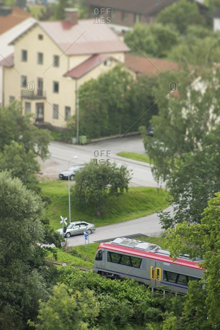 train in a village