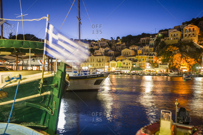 Symi, Greece - March 4, 2017: Night view of the Dodecanese (Dodekanisos) port