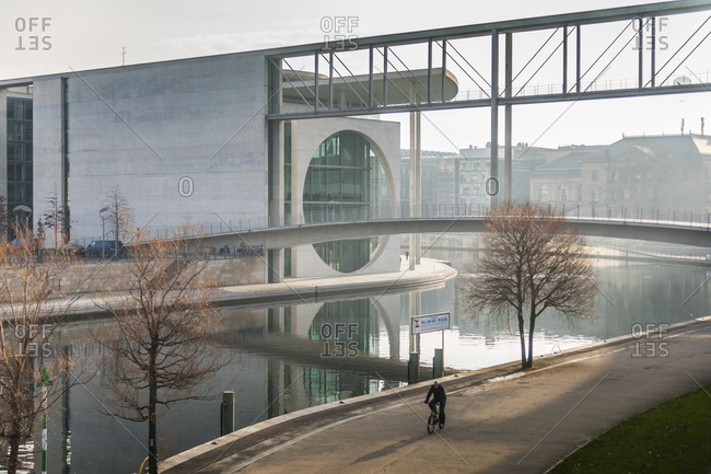 Berlin, Germany - January 14, 2014: Marie Elisabeth Luders Haus and Paul Lobe Haus, along Spree River