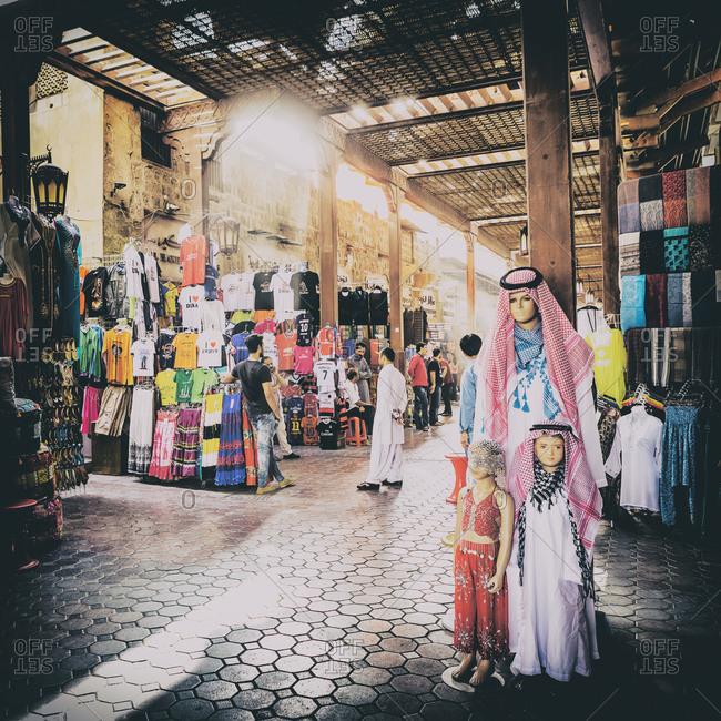 Dubai, United Arab Emirates - June 26, 2017: Shoppers at Bur Dubai Souq
