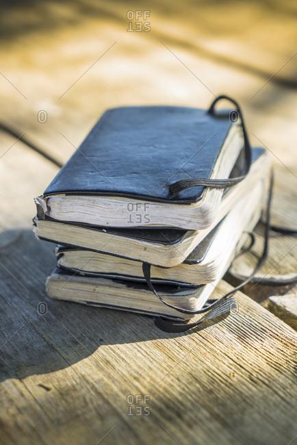 Close up of old travel sketchbooks