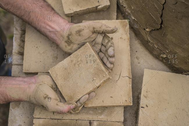Making terracotta bricks