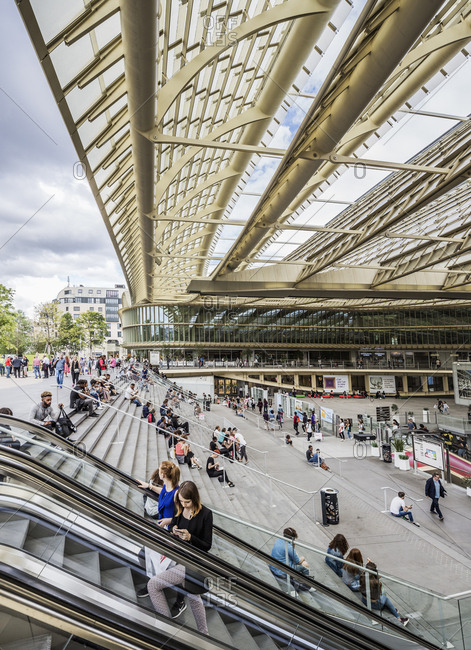 Paris, France - June 28, 2017: Les Halles, the new project by Patrick Berger & Jacques Anziutti architects inspired to the Canopy of a forest