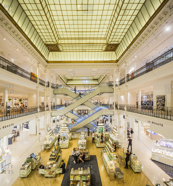 Paris, France - June 24, 2017: Le Bon Marche, the interior of the mall founded by Aristide Boucicaut with the help of Gustave Eiffel