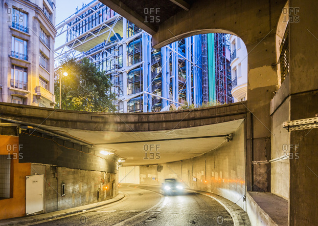 Paris, France - June 23, 2017: Beaubourg district, underpass near the Centre Georges Pompidou (architect Renzo Piano and Richard Rogers)