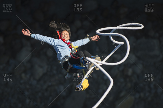 Bouncing back on a bungee cord at The Last Resort in Nepal